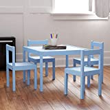 Kids Table and Chairs Set Blue - White Wood Children's Set with 1 Square Table and 4 Chairs , Great for Playing , Learning , Eating ...