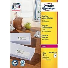 Avery - LR7162-100 - 1600 étiquettes d'adressage blanches adhésives 100% recyclées personnalisables. 99,1x33,9mm. Impression laser