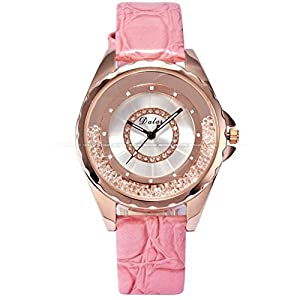 Pretty Birdy Luxury Analog Relogio Rose Gold Case Moving Crystal Girl