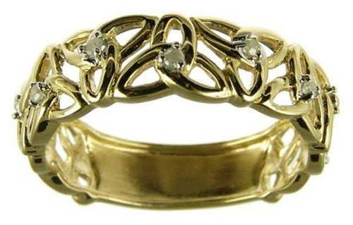 9ct Yellow Gold Ladies 5 Point Diamond Set Linked Celtic Trinity Knot Ring