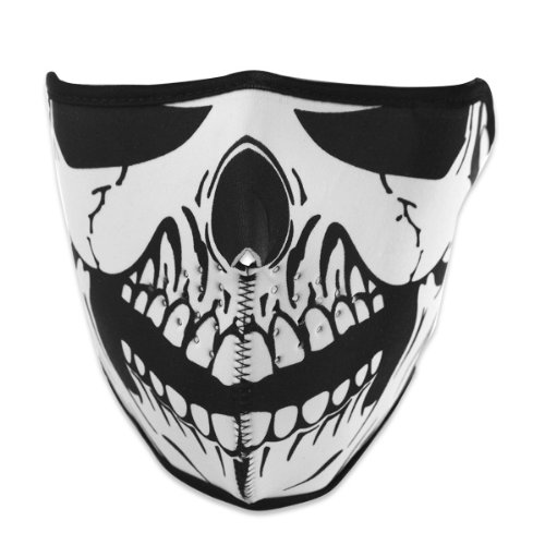 2 In 1 Unique Reversible Windproof Black Tribal Classic Skull Soft Neoprene Half Face Mask Facemask Headwear Motorcycle ATV Biker Cycling