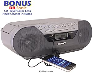 Sony Portable Digital Tuner AM/FM Radio Tape Cassette Recorder & CD Player Mega Bass Reflex Stereo Sound System with Program, Shuffle, Repeat, 20 Track RMS Programming, 30 Presets, LCD Display, Auto Scan Tuning & Audio in Jack to Connect any iPod, iPhone or MP3 Digital Audio Player *BONUS* DBsonic CD Player Lens Cleaner Included