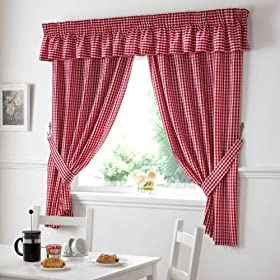 GINGHAM CHECK RED WHITE KITCHEN CURTAINS DRAPES W46 X L42 TIEBACKS INCLUDED