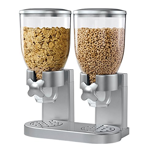 Zevro KCH-06124/GAT202 Indispensable Dry Food Dispenser, Dual Control, Silver (Cereal Dispenser Double compare prices)