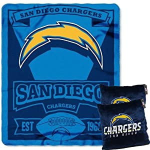 A set of 3 Piece Gift Set: 2 NFL Team Pillows and 1 NFL Fleece Throw Team Blanket -... by Pacific Northwest Auto Group
