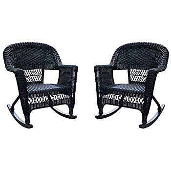 Jeco W00207R-D_2, Set of 2 Wicker Rocker Chairs, Black