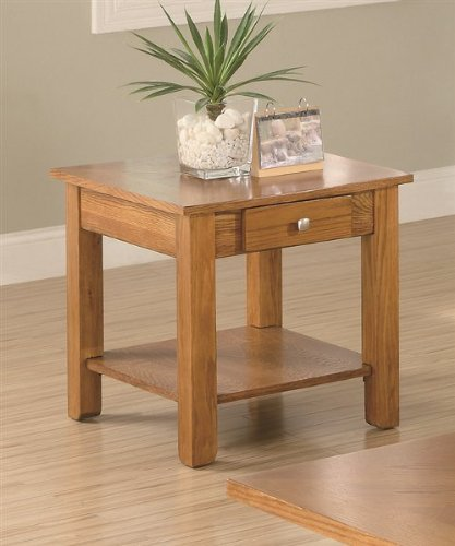 End Table With Drawer And Shelf In Oak Finish