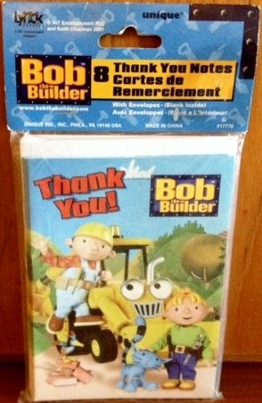 Bob the Builder Thank You Notes w/ Envelopes (8ct) - 1