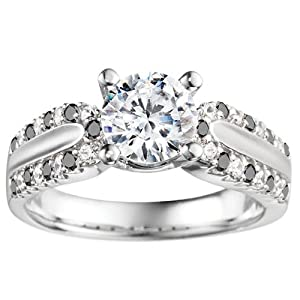 Promise Ring Set with Black And White Diamonds mounted in 14k White Gold (2.89 ct. twt.)
