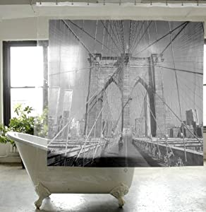 Travel Destinations - VINYL Shower Curtain - Brooklyn Bridge