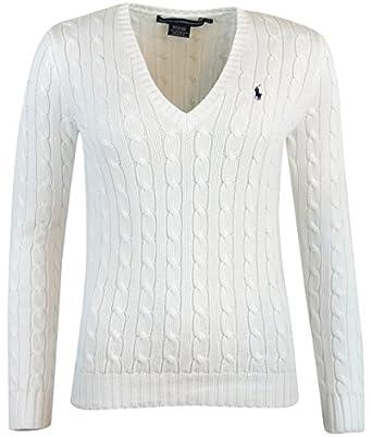 Ralph Lauren Sport Womens V-Neck Cable Knit Sweater - L - White