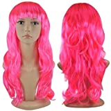 Women's Sexy Long Wave Curly Fancy Dress Wigs Cosplay Costume Ladies Full Wig Xmas, Haloween, Event and Surprise Party - Pink