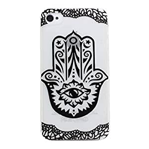 Iphone 4 Case, JAHOLAN Clear Bumper Hard Plastic Case Silicone Skin Cover for Iphone 4s 4 - Henna Hamsa Hand of Fatima Mary Ohm Black