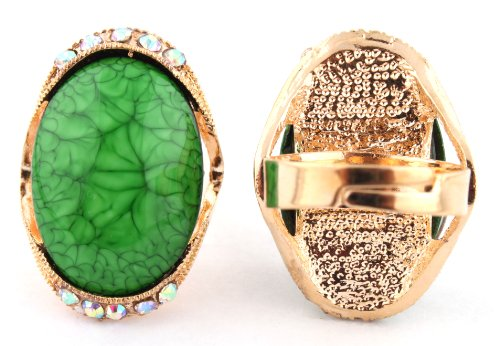 Ladies Gold with Green Oval Abstract Pattern Center with Surrounding Clear AB Stones Metal Adjustable Finger Ring