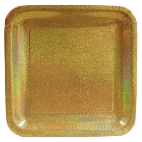 "Creative Converting Glitz Gold 10"" Square Prismatic Banquet Plates, 8 Count"