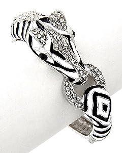 Designer's Look Zebra Silver Enameled with Cryslals Cuff Bangle Bracelet
