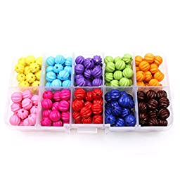 MEIBEADS 8mm 200pcs Candy Color Tiny Acrylic pumpkin Round Loose Beads + FREE Plastic Jewelry Container Box Mix Lot For Jewelry Making