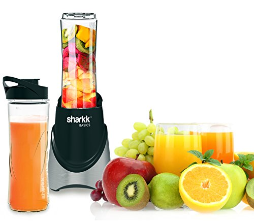 Sharkk Basics 300W Mini Personal Blender with Two (2) 20oz Sport Bottles Smoothie Maker Stainless Steel Blades and Automatic Safety Function (300 Watt Blender compare prices)