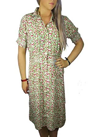 Ladies Really Pretty Loose fitting Green and Pink Floral Dress in Women's uk size 8 eu34