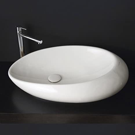 Scarabeo Scarabeo 8601-No Hole-637509864378 Ceramic Washbasin Vessel, White
