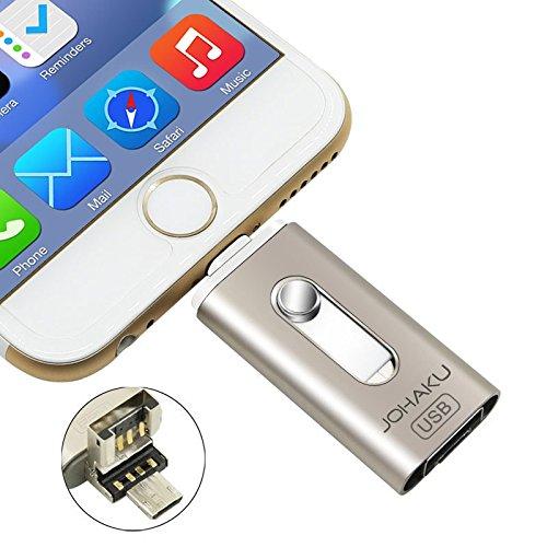 [JOHAKU] iPhone iPad iPod用 ライトニング 接続 USBメモリ 写真をバックアップ ビデオ 音楽再生 データを転送 USB2.0 Apple Lightning 外付け フラッシュメモリー 3in1 Micro OTG変換 Androidスマートフォンにもパソコンにも使える (32GB)