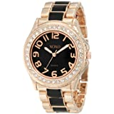 Reloj XOXO XO5473 para mujer en tono oro rosa y Epóxido negro.