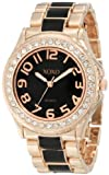XOXO Womens XO5473 Rose Gold with Black Epoxy Analog Bracelet Watch