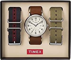 Timex TWG011900 Men' s Weekender 40 Set, Cream Dial one Brown Slip Thru Leather Strap, One Olive Strap and One Slate Strap. Ingiglo Night Light & 30m WR