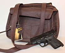 Brown Leather Concealed Carry Handbag Gun Purse Roma 7085
