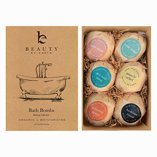 Bath Bombs Gift Set, Large, Organic & Natural Ingredients, Surprise Your Mom, Wife or Girlfriend with 6 Relaxing Epsom Salt Soak Balls in a Fizzy Bomb Pack with Lush Essential Oils, Made in USA