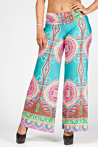 LA Palazzo Los Angeles Women's Fold-over High Waist Palazzo Pants- Made in USA