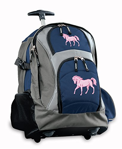 Pink Horse Rolling Backpack Deluxe Navy Horses Backpacks Bags With Wheels Or Sc