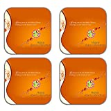 MeSleep Rakhi Wooden Coaster-Set Of 4 - B013LEI4YK
