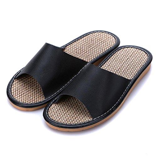 ZHLONG Fine di uomini Home interni in pelle tendine casual Pantofole , 1 , large