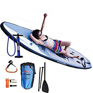 Shark SUPs 10'6'' Inflatable Yoga Board (6'' Thick) with Pump and 3-pc Adjustable Paddle by Shark SUPs Co.,LTd