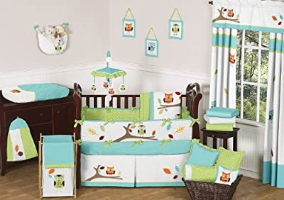 Turquoise & Lime Hooty Owl Crib Bedding  Set