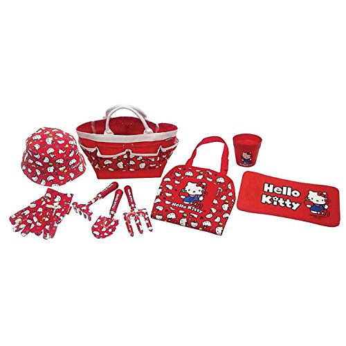Set regalo da giardinaggio di Hello Kitty, prodotto ufficiale, per bambini, 9 pezzi, con veri attrezzi da giardinaggio
