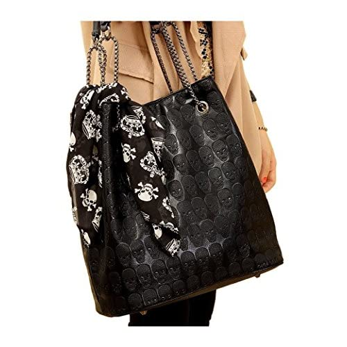 Micom Womens Fashion Skull Print Pu Hobo Tote Shoulder Bag Lash Package Handbag