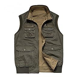 Cccken Big&Tall Men\'s Outdoor Photo Journalist Fishing Vest Coat Army Green(Army Green US 2XL+=Asia 7XL)
