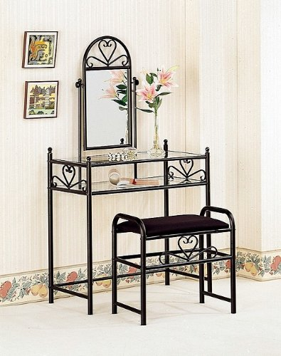 Black Heart Shaped Vanity Glass Table Set Mirror