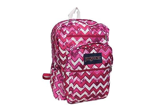 Jansport Big Student Backpack Chevron Pink Zig Zag Stripes