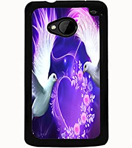 ColourCraft Love Birds Design Back Case Cover for HTC ONE M7