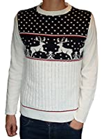 Mens Kitsch Reindeer Christmas Jumper Navy Blue Retro