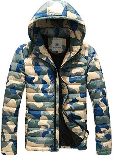 Fiream Herren Freizeit Winter Verdicken Warm Camouflage Mit Kapuze Daunenjacken(Blau,EUR M)