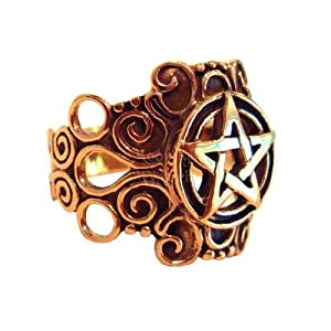 Ornate Bronze Pentagram Pentacle Ring Wiccan Pagan Jewelry Size 4-15 (Sz 4,5,6,7,8,9,10,11,12,13,14,15) from Psjc