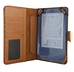 "Kindle 3 Leather Executive Folio Cover, Tan (Fits 6"" Display, Latest Generation Kindle - 3rd Generation) by Kiwi Cases"