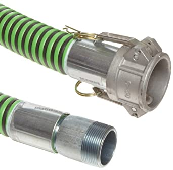 Goodyear EP Green Hornet XF Rubber Suction/Discharge Hose Assembly, Aluminum Cam And Groove Female x Steel NPT Male Couplings