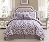7 Piece Queen Laugh Lavender/Taupe Comforter Set