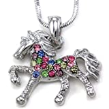 Multicolor Horse Necklace Pony Mustang Animal Pendant Charm Ladies Women
