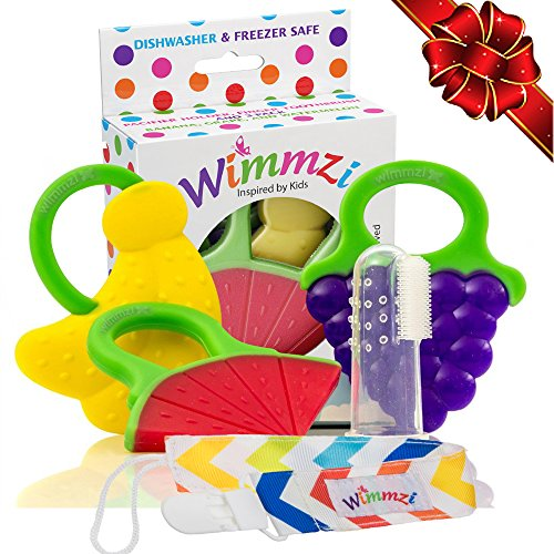Baby Infant & Toddler Teething Toys Set of 5: 3 Fruit Teethers + Pacifier/Teether Clip Holder + Finger Toothbrush/Massager & Case | Best Relief for Sore Gums | BPA-Free Freezer Safe Silicone | WIMMZI (Freezable Baby Food compare prices)